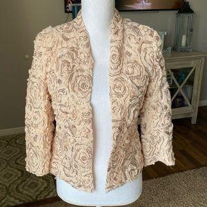 Boston Proper rosette sequin blazer blush size 6